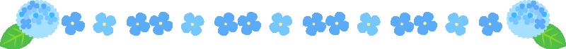 アジサイの罫線ライン・囲み素材(青)