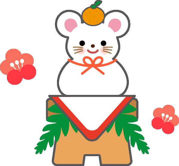 鏡餅 ねずみ(子年)のかわいい年賀状 無料イラスト
