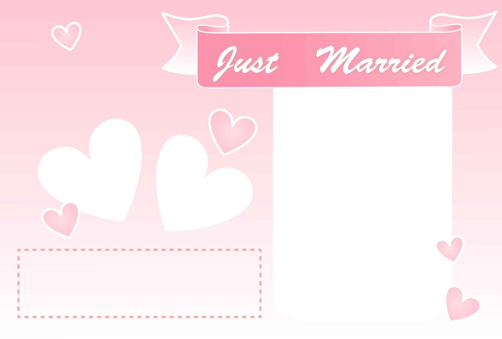 【文字無し】写真が複数入るハート柄の結婚報告ハガキの無料デザインテンプレート
