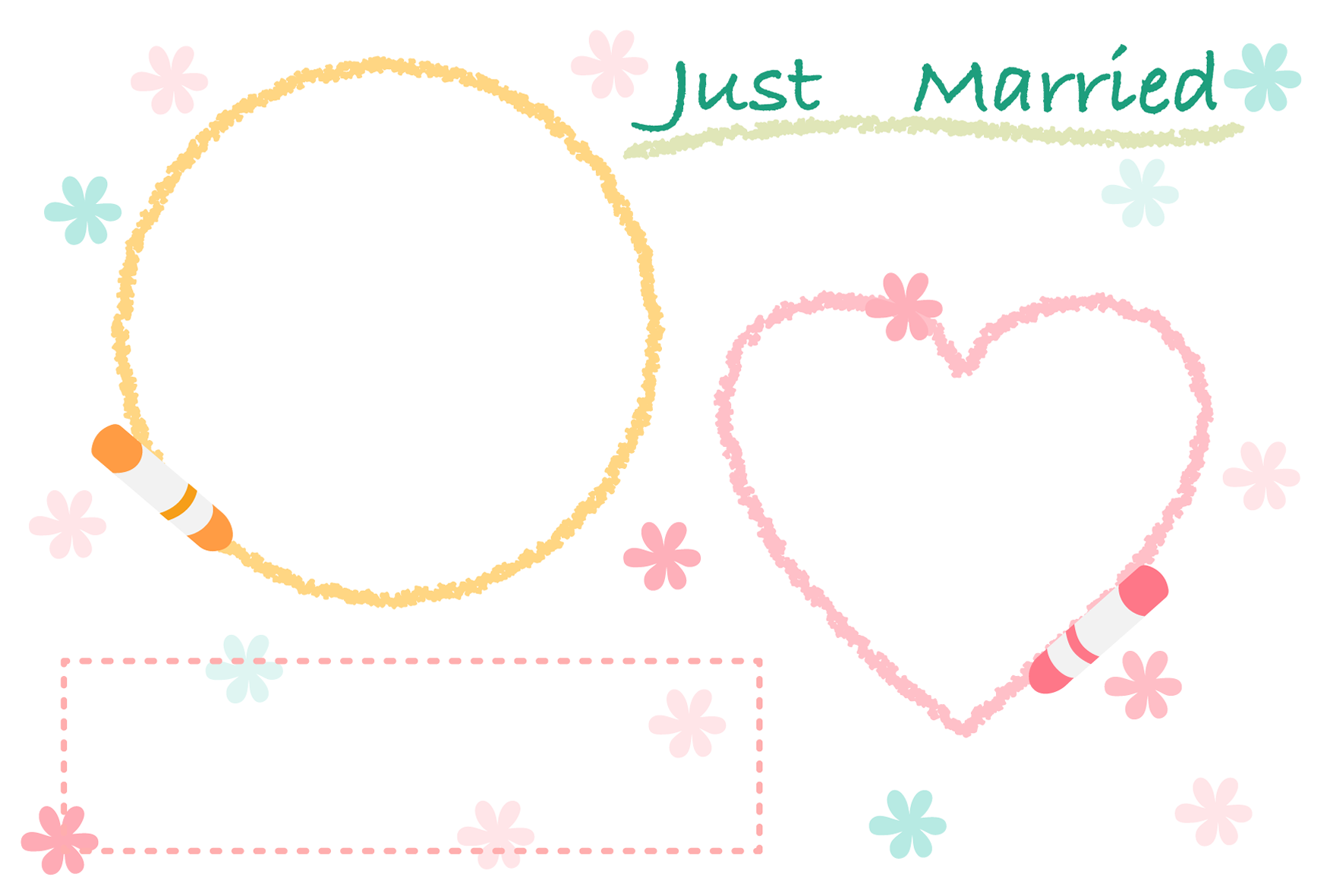 【文字無し】かわいい手書き風の結婚報告ハガキの無料デザインテンプレート