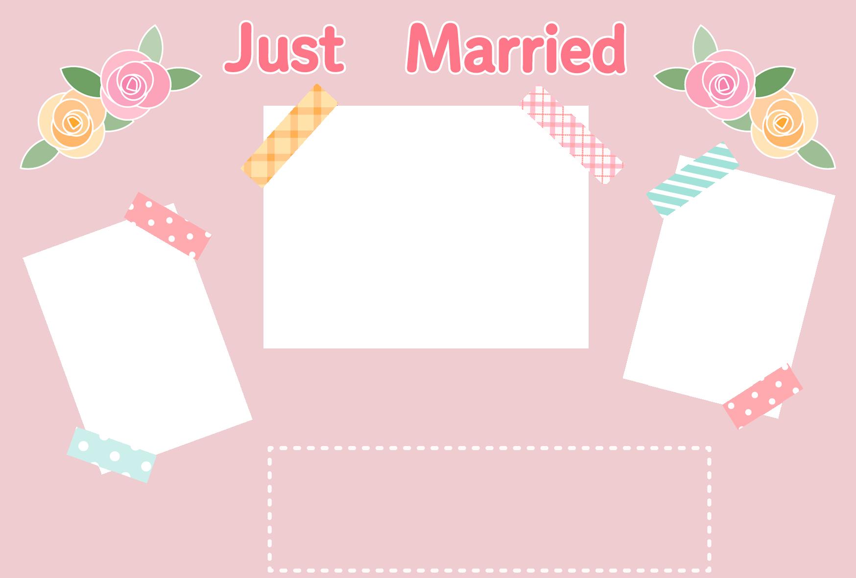 【文字無し】写真が3枚入る結婚報告ハガキの無料デザインテンプレート