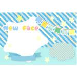 出産報告ハガキの無料デザインテンプレート(星・ブルー)