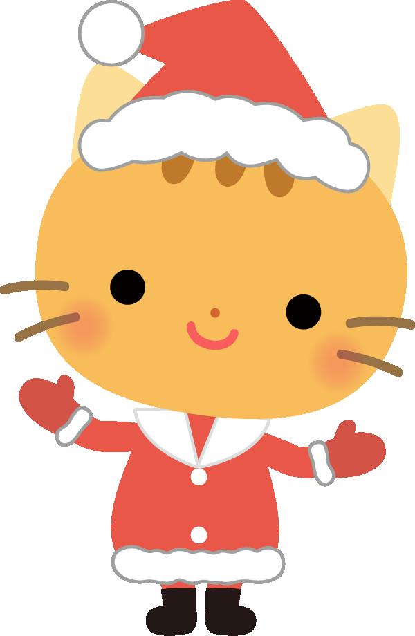 ネコのサンタクロースのイラスト