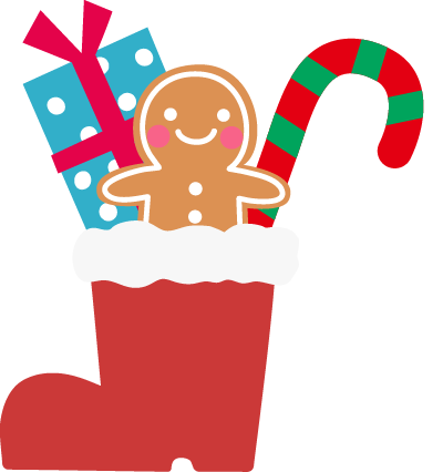 クリスマスブーツのアイコンイラスト