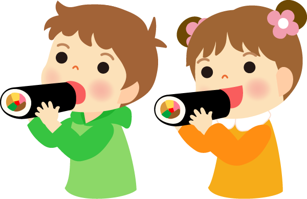 恵方巻を食べる子供イラスト