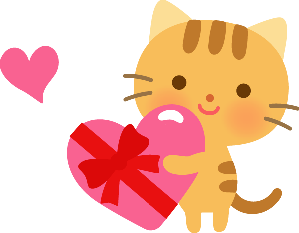 バレンタインチョコを渡すネコ(動物)のかわいいイラスト