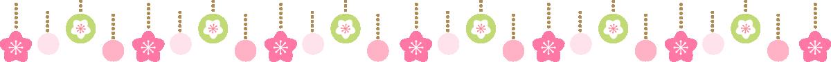 ひな祭りの飾り線・ライン素材(桃の花・オーナメント)