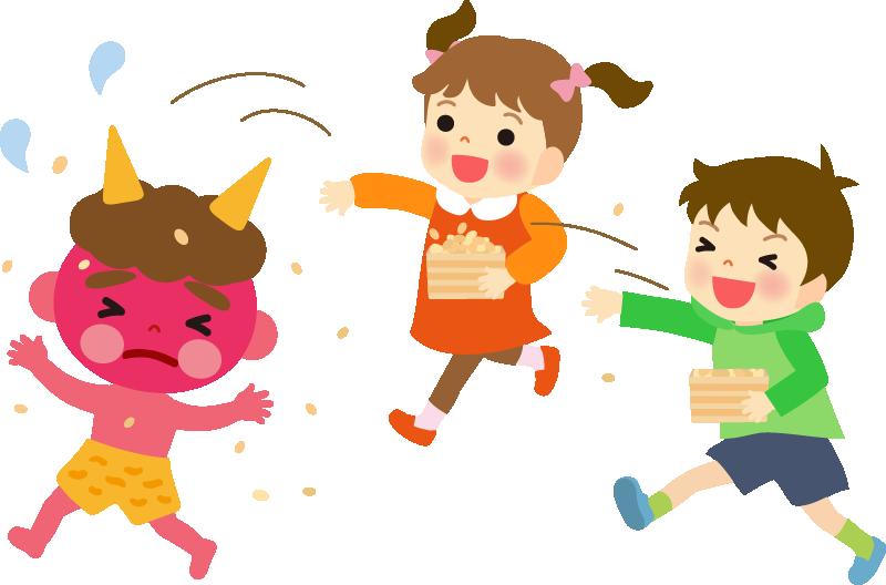 豆まきをする子供のイラスト(節分)