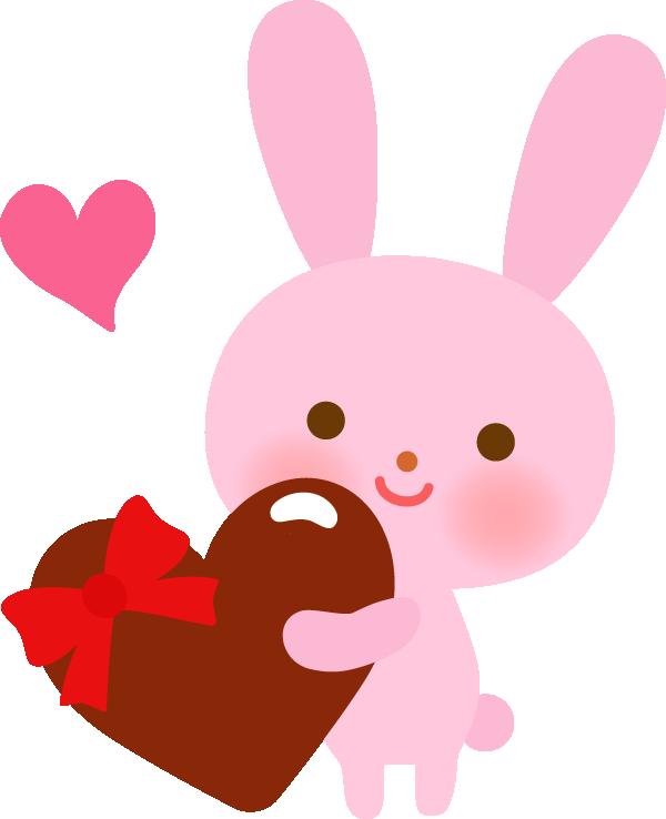 バレンタインチョコを渡すウサギ(動物)のかわいいイラスト