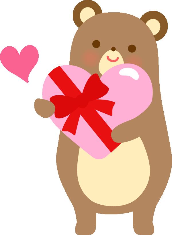 バレンタインチョコを渡すクマ(動物)のかわいいイラスト