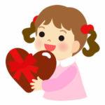 バレンタインチョコを渡す女の子(子供)のイラスト