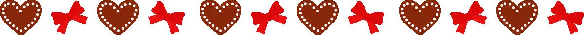 バレンタインデーの飾り線・ライン素材(ハートチョコとリボン)