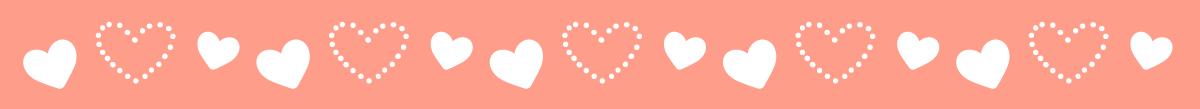 バレンタインデーの飾り線・ライン素材(ハート柄)