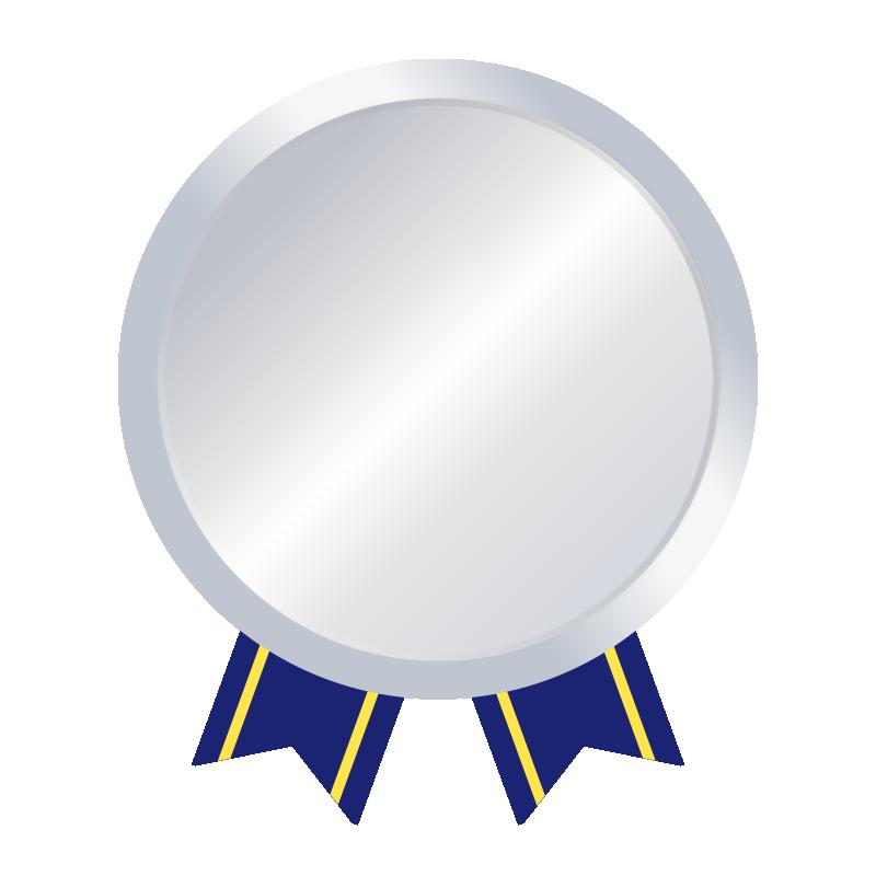 銀メダルの無料イラスト(文字無し)